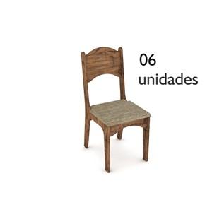 Cadeira para Sala de Jantar CA18 100% MDF 06 Peças Nobre com Chenille Marrom - Dalla Costa