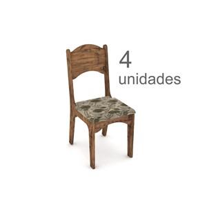 Cadeira para Sala de Jantar CA18 100% MDF com 04 Unidades Nobre com Chenille Floral - Dalla Costa