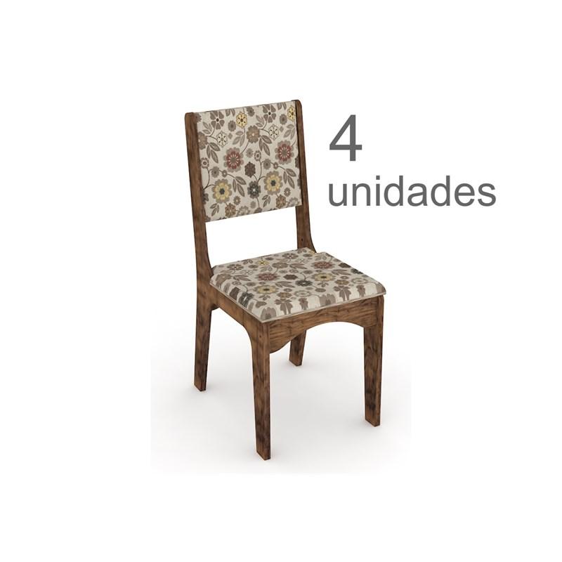 Cadeiras para Mesa de Jantar CA19 com 04 Unidades Nobre com Chenille Floral Colorido - Dalla Costa