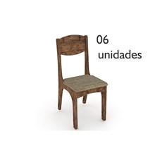 Cadeiras para Sala de Jantar CA12 com Assento Estofado 06 Unidades Nobre com Assento Chenille Marrom - Dalla Costa