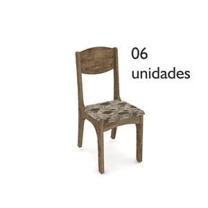 Cadeiras para Sala de Jantar CA12 Rústico com Assento Chenille Floral - Dalla Costa