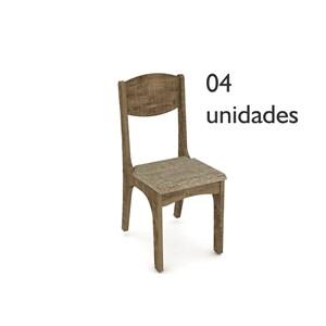 Cadeiras para Sala de Jantar CA12 Rústico com Chenille Marrom - Dalla Costa