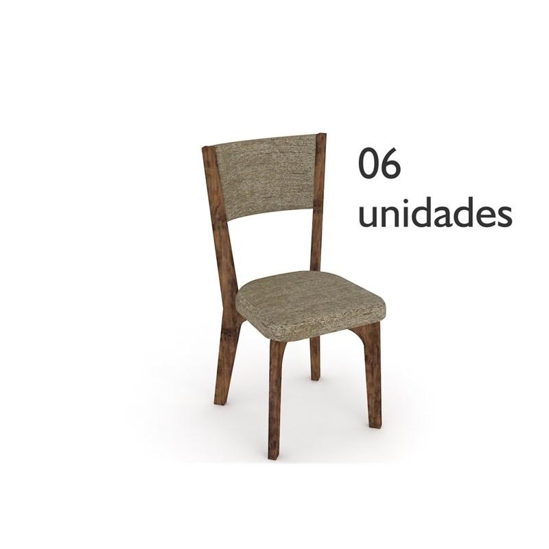 Cadeiras para Sala de Jantar CA22 Nobre com Chenile Marrom - Dalla Costa