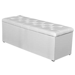 Calçadeira Baú 140 cm Paris Corino Branco - JS Móveis