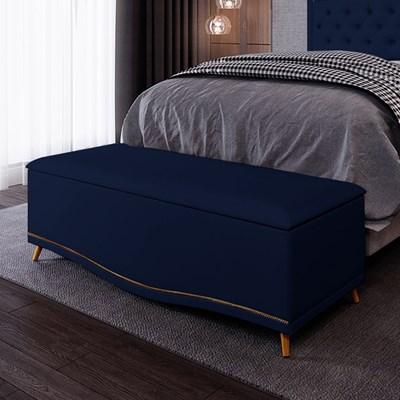 Calçadeira Baú Casal 140cm Imperial J02 Suede Azul - Mpozenato