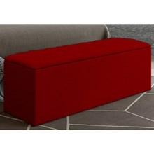 Calçadeira Baú Paris com 140 cm Vermelho Suede Amassado - JS Móveis