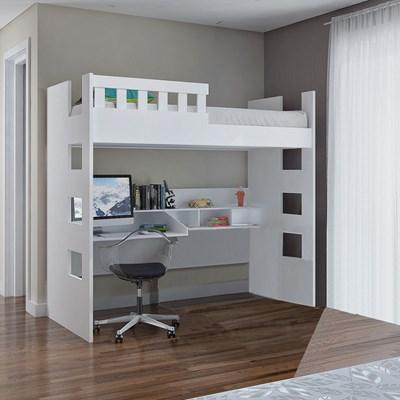 Cama Alta com Escrivaninha Escada Bilateral Faces F04 Branco - Mpozenato