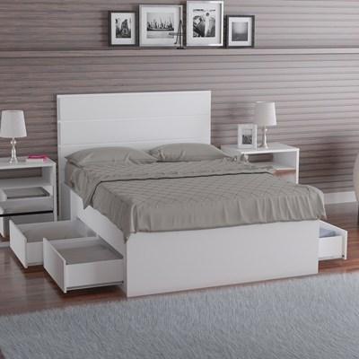 Cama de Casal com Cabeceira 147cm 4 Gavetas Dreams F04 Branco - Mpozenato