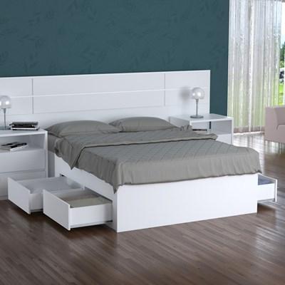Cama de Casal Queen 167cm 4 Gavetas Dreams F04 Branco - Mpozenato