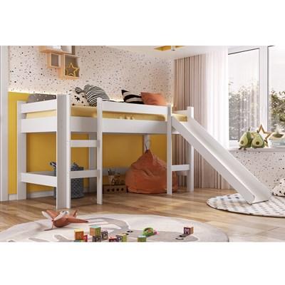 Cama Elevada Com Escorregador BB1001 Branco - Completa Móveis