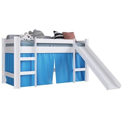 Cama Elevada Com Escorregador E Cortina BB1000 Branco/Azul - Completa Móveis