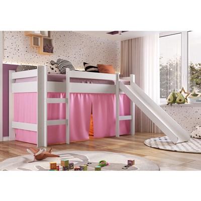 Cama Elevada Com Escorregador E Cortina BB1000 Branco/Rosa - Completa Móveis
