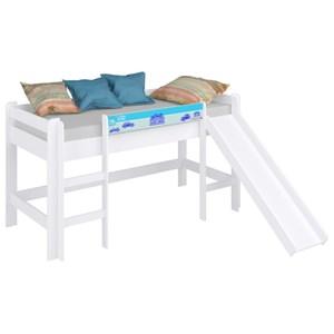 Cama Infantil Cabaninha com Escorregador BB 880 Branco/Azul - Completa Móveis