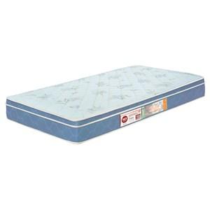 Colchão Solteiro Sleep Max Espuma D45 100x200x25cm Branco/Azul - Castor