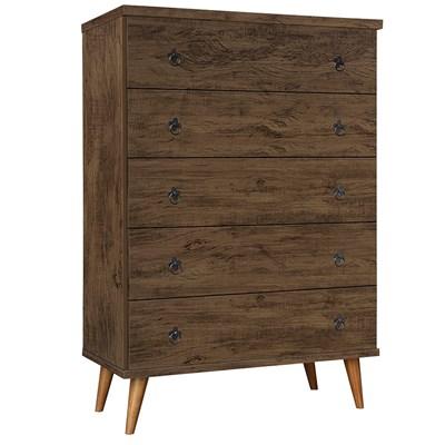 Cômoda 5 Gavetas Pés Palito Poeme 4068 Amêndoa Wood Luxo - Móveis Primus