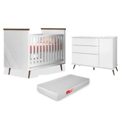 Cômoda Infantil 1 Porta e 3 Gavetas Mel 100% MDF e Berço Mini Cama Wood com Colchão P04 Branco - Mpozenato