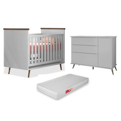 Cômoda Infantil 1 Porta e 3 Gavetas Mel 100% MDF e Berço Mini Cama Wood com Colchão P04 Cinza - Mpozenato