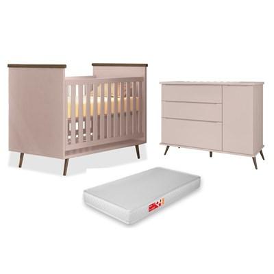 Cômoda Infantil 1 Porta e 3 Gavetas Mel 100% MDF e Berço Mini Cama Wood com Colchão P04 Rosê - Mpozenato
