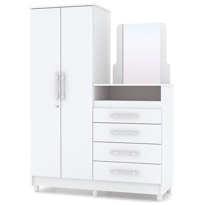Cômoda Infantil 2 Portas 4 Gavetas com Espelho Line Flex Branco/Rosa/Canela - VLR Móveis