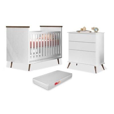 Cômoda Infantil 3 Gavetas Mel 100% MDF e Berço Mini Cama Wood com Colchão P04 Branco - Mpozenato