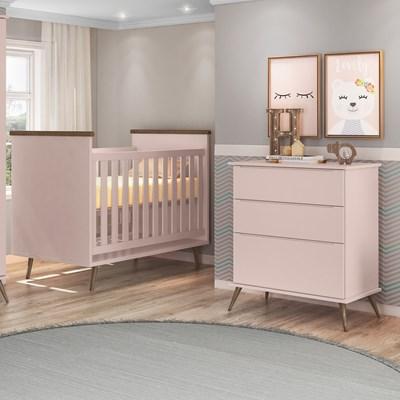 Cômoda Infantil 3 Gavetas Mel 100% MDF e Berço Mini Cama Wood com Colchão P04 Rosê - Mpozenato