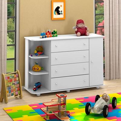 Cômoda Infantil com Cantoneira Laura 1 Porta Branco - Mpozenato