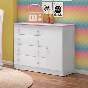 Cômoda Infantil Doce Sonho 1 Porta 4 Gavetas Branco/Rosa - Qmovi