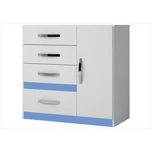 Cômoda Vênus 04 Gavetas e 01 Porta Flex Branco/Rosa/Azul/Lilás - Moval