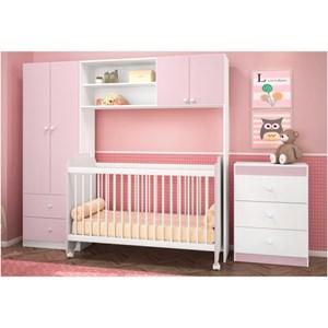 Conjugado Infantil 04 Portas com Berço e Cômoda Ternura Branco com Rosa - PN Baby