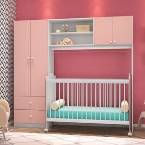 Conjugado Infantil 04 Portas com Berço Ternura Branco com Rosa - PN Baby