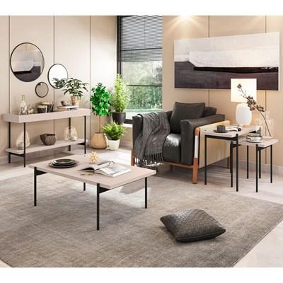 Conjunto Aparador Mesa de Centro e Mesas Laterais Estilo Industrial Mezzan H01 Off White - Mpozenato
