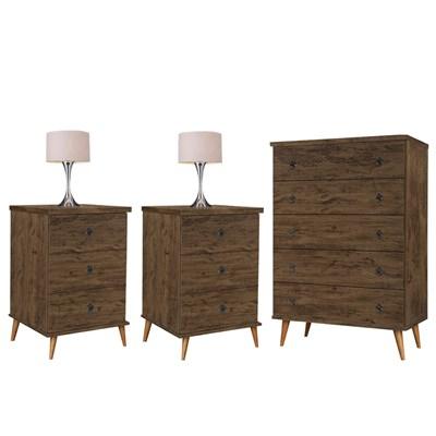 Conjunto Cômoda Poeme e 2 Mesas de Cabeceira Creta Amêndoa Wood Luxo - Móveis Primus