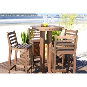 Conjunto de Mesa de Bar com 4 Banquetas Altas em Madeira Nogueira - Mão & Formão