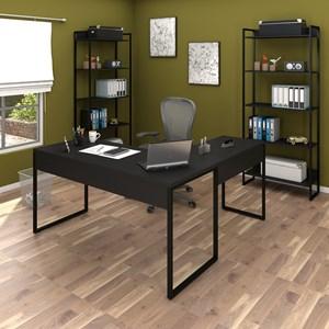Conjunto Escritório 3 peças 1 Mesa em L e 2 Estantes Studio Industrial M18 Preto - Mpozenato