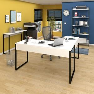 Conjunto Escritório 3 peças Mesa em L Estante e Aparador Studio Industrial M18 Branco – Mpozenato