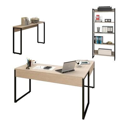Conjunto Escritório 3 peças Mesa em L Estante e Aparador Studio Industrial M18 Carvalho Bruma – Mpozenato