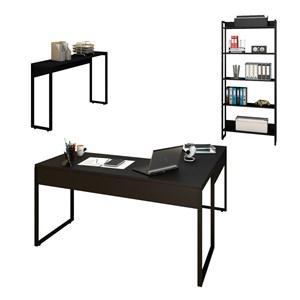 Conjunto Escritório 3 peças Mesa em L Estante e Aparador Studio Industrial M18 Preto – Mpozenato