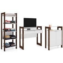 Conjunto Escritório AZ Estante Armário e Escrivaninha Branco/Nogal - Tecno Mobili