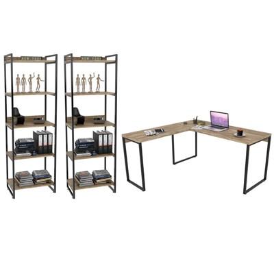 Conjunto Escritório Estilo Industrial Mesa 150x150cm e 2 Estantes 60cm 5 Prateleiras Prisma C08 Carvalho - Mpozenato