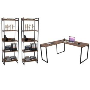 Conjunto Escritório Estilo Industrial Mesa 150x150cm e 2 Estantes 60cm 5 Prateleiras Prisma Nogal - Mpozenato