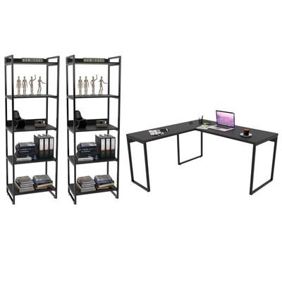 Conjunto Escritório Estilo Industrial Mesa 150x150cm e 2 Estantes 60cm 5 Prateleiras Prisma Preto Onix - Mpozenato