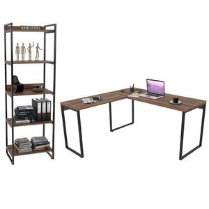 Conjunto Escritório Estilo Industrial Mesa 150x150cm e Estante 60cm 5 Prateleiras Prisma Nogal - Mpozenato