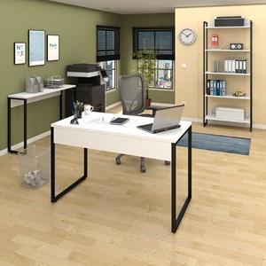 Conjunto Escritório Mesa 120 Aparador e Estante Studio Industrial M18 Branco - Mpozenato