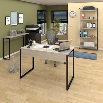 Conjunto Escritório Mesa 120 Aparador e Estante Studio Industrial M18 Carvalho Bruma - Mpozenato