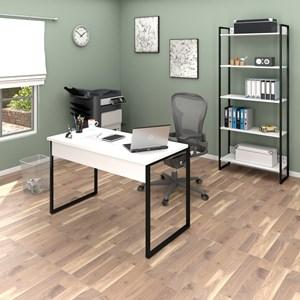 Conjunto Escritório Mesa 120 e Estante Studio Industrial M18 Branco – Mpozenato