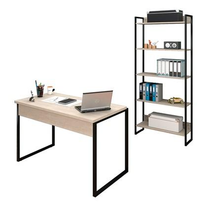 Conjunto Escritório Mesa 120 e Estante Studio Industrial M18 Carvalho Bruma – Mpozenato