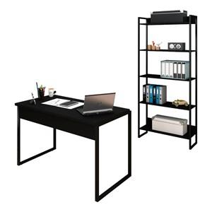 Conjunto Escritório Mesa 120 e Estante Studio Industrial M18 Preto – Mpozenato