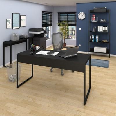 Conjunto Escritório Mesa 150 Aparador e Estante Studio Industrial M18 Preto - Mpozenato