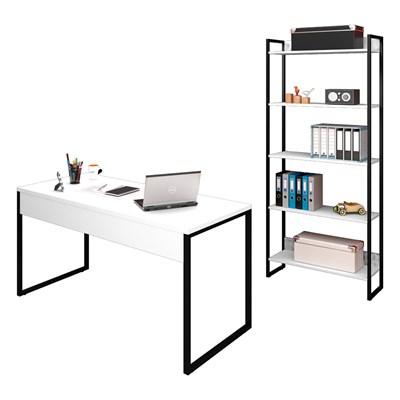 Conjunto Escritório Mesa 150 e Estante Studio Industrial M18 Branco – Mpozenato