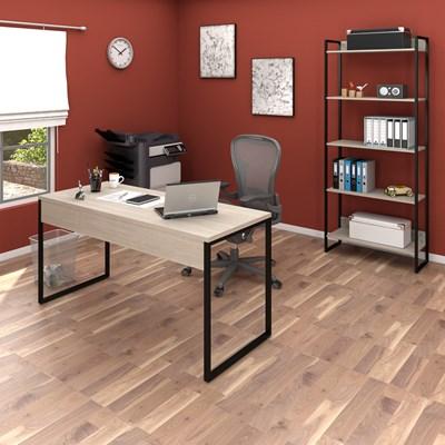 Conjunto Escritório Mesa 150 e Estante Studio Industrial M18 Carvalho Bruma – Mpozenato